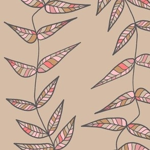Colorful Leaves Taupe and Pink