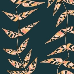 Colorful Leaves - Dark Teal and Pink