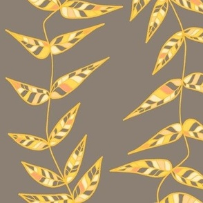 Colorful Leaves - Yellow and Grey