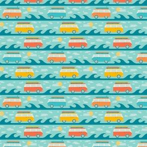 Retro Surf Style Hippie Bus