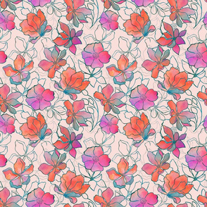 Watercolor And Line Art Flower Pattern Smaller