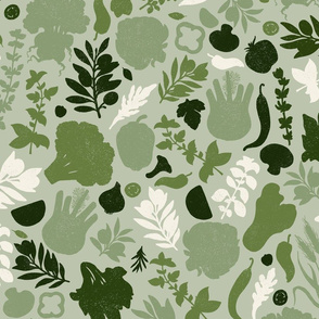 Green textured vegetables