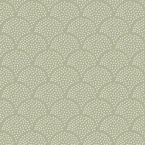 Tiny little speckled scales spots in abstract waves water shape dots texture neutral nursery soft olive green white