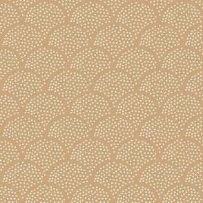 Tiny little speckled scales spots in abstract waves water shape dots texture neutral nursery cinnamon ochre yellow camel white