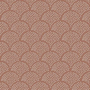 Tiny little speckled scales spots in abstract waves water shape dots texture neutral nursery terra cotta stone red brown