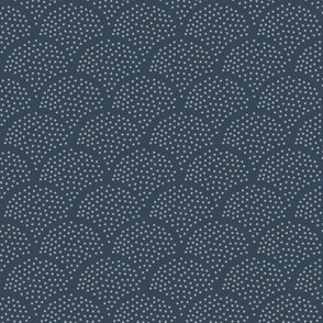 Tiny little speckled scales spots in abstract waves water shape dots texture neutral nursery navy blue white