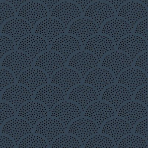 Tiny little speckled scales spots in abstract waves water shape dots texture neutral nursery navy blue black