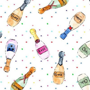 champagne and confetti - bottles - watercolor bubbles for celebration - painted wine rose dolce vita a143 - 4