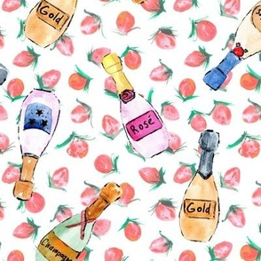 champagne bottles with strawberries - watercolor bubbles for celebration - painted wine rose dolce vita a143 - 10