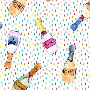 champagne bottles with confetti - watercolor bubbles for celebration - painted wine rose dolce vita a143 - 11