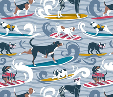 Normal scale // Happy dogs catching waves // pastel blue background darker blue waves brown white and blue doggies yellow red and turquoise surf and bodyboards