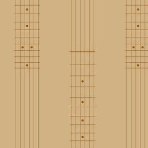 guitar fretboard stripe - 1960s brown on tan