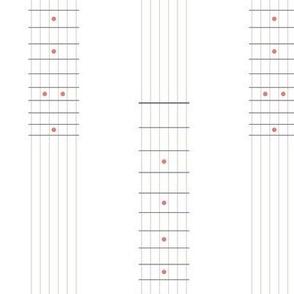 guitar fretboard stripe - grey and coral