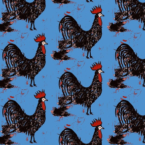 chianti black rooster in carolina blue