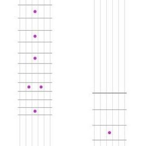 guitar fretboard stripe - grey and magenta