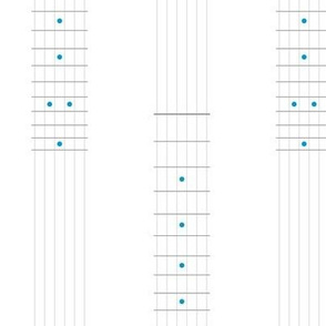 guitar fretboard stripe - grey and turquoise