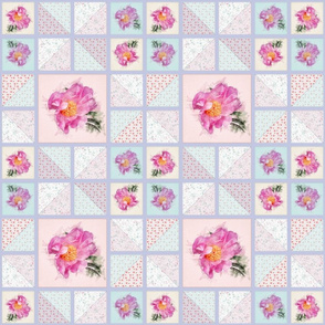 Medium Size Peony Faux Quilt Top III