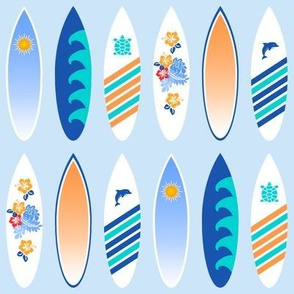 Happy surfboards in blue and orange