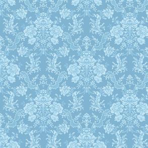 Elegant Pastel Floral Damask-Blue