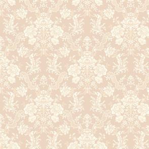 Elegant Pastel Floral Damask-Cream