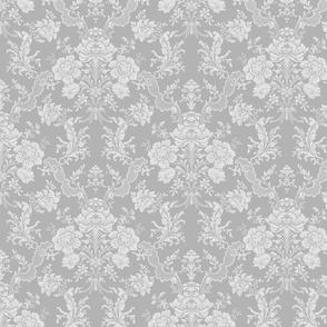Elegant Pastel Floral Damask-Gray