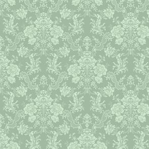 Elegant Pastel Floral Damask-Sage Green