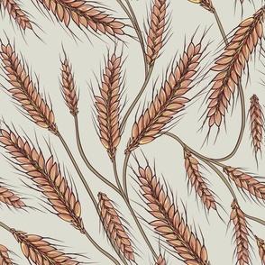 Wheat stalks wild grass