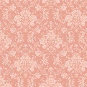Elegant Pastel Floral Damask-Peach