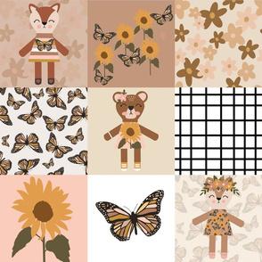 woodland girl cheater, woodland girl wholecloth, sunflower wholecloth, sunflower cheater, sunflower nursery, sunflower baby