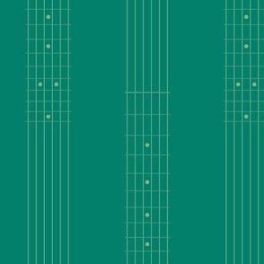 guitar fretboard stripe - green-gold on green
