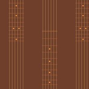 guitar fretboard stripe - copper and brown