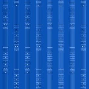 small guitar fretboard pinstripe - white on true  blue