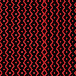 Red Dots and Chevron Stripes on Black_10x8