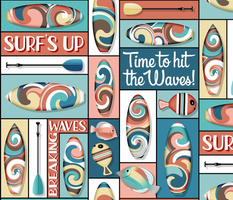 Swirling, Whirling Good Time Surfboards // Surf's Up // Butter Yellow, Ocean Blue, Rose Pink, Terra Cotta, Clay, Turquoise Blue, Sky Blue, Brown, Black and White