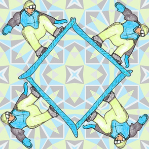Geometric Snowboarder, Table cloth size