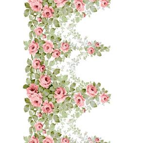 Pink Victorian Rose Border Print