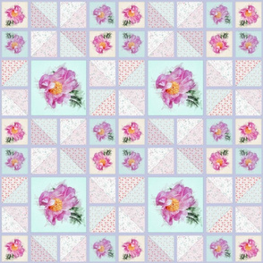 Medium Size Peony Faux Quilt Top V