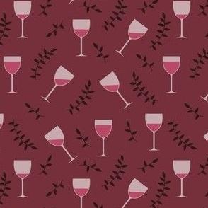 Wine Glasses on Burgundy