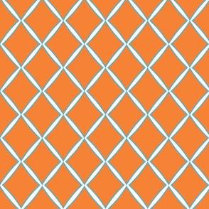 Diamonds in the Desert - orange with cerulean blue edge