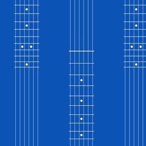 guitar fretboard stripe - white on true blue