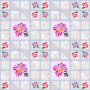 Medium Size Peony Faux Quilt Top IV