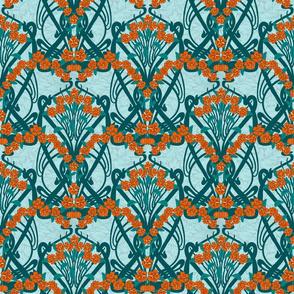 Art Nouveau Garland in Teal