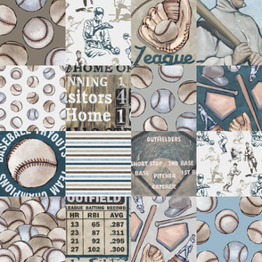 Baseball Back Then Patchwork Wholecloth