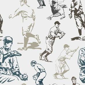 Baseball Back Then Old Time Players on Dove Gray