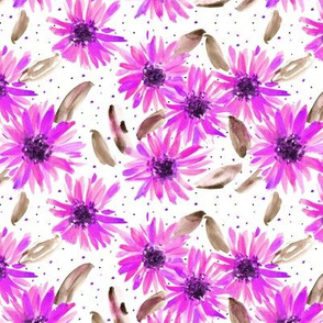 mexican magenta sunflowers - watercolor blooming florals pa059-2