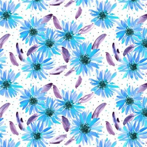blue mexican sunflowers - watercolor blooming florals pa059-4