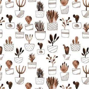 Earthy cacti - watercolor neutral boho cactus in pots