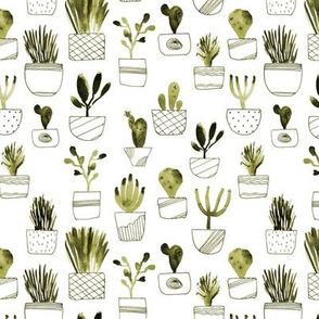 Khaki cacti - watercolor cactus pattern