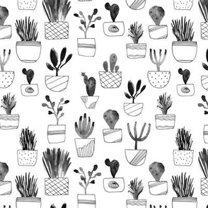 Noir cacti - watercolor grey cactus in pots
