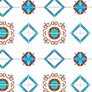 Red and blue majolica pattern - watercolor painted tiles